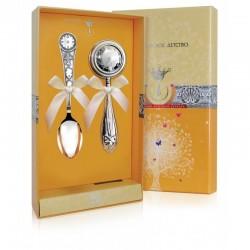 Детский набор из серебра ложка и погремушка Часы