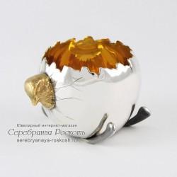 Серебряная подставка для яйца Цыпленок