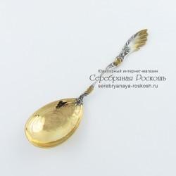 Серебряная салатная ложка Ажур