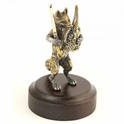 Серебряная статуэтка Лис охотник с фазаном