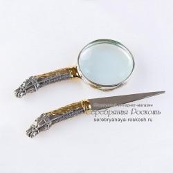 Набор лупа и нож для писем Лошадь