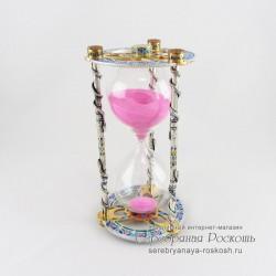 Серебряные песочные часы Змеи (эмаль)