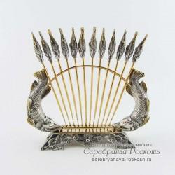 Серебряные шпажки для канапе Рыбки