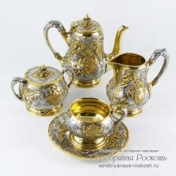 Серебряный кофейный сервиз Жар птица