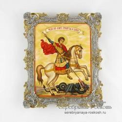 Серебряная икона Георгий Победоносец