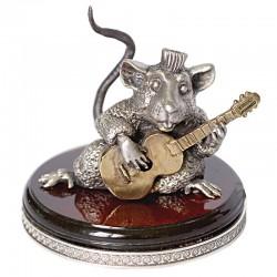 Серебряная статуэтка Крыса с гитарой - маленькая