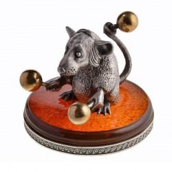 Серебряная статуэтка Крыса с маракасами