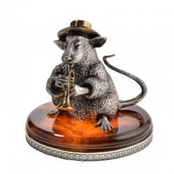 Серебряная статуэтка Крыса с трубой