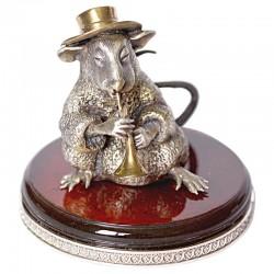 Серебряная статуэтка Крыса с трубой - маленькая