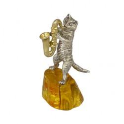 Статуэтка Кот с саксофоном на янтаре