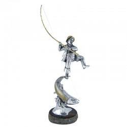 Статуэтка Рыбак из серебра