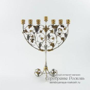 Серебряный семисвечник Менора