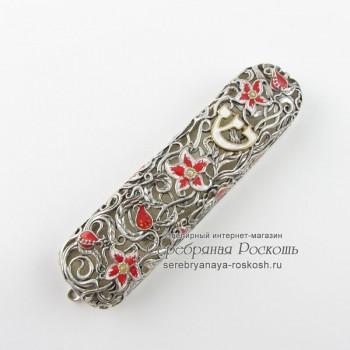 Мезуза из серебра Цветы - эмаль
