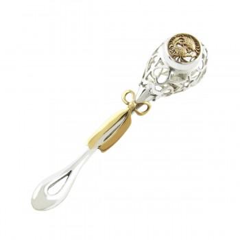 Серебряная погремушка знак зодиака Рыбы