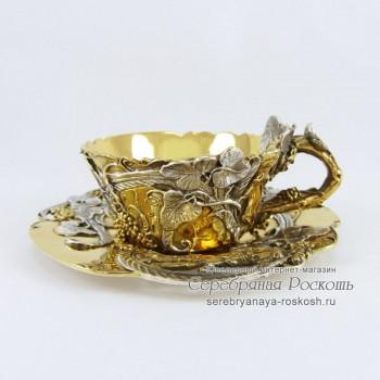 Серебряная кофейная чашка Виноград