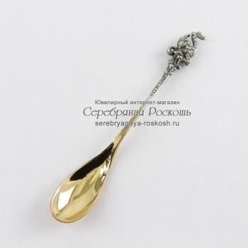 Серебряная ложка для икры Осетр