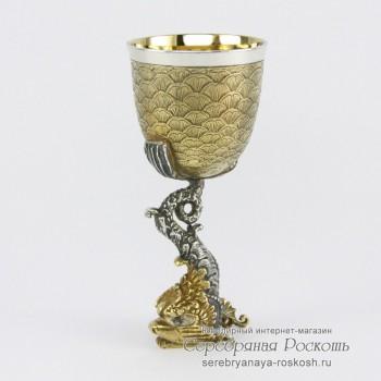 Серебряная рюмка на ножке Дракон