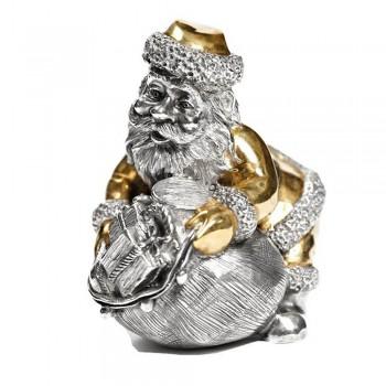Серебряная статуэтка Дед Мороз с мешком подарков
