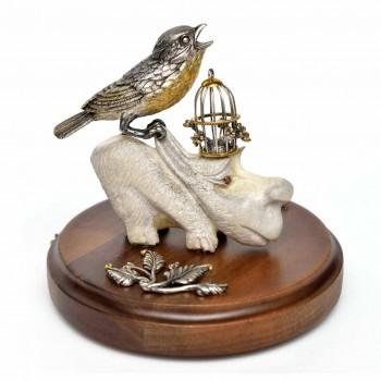 Серебряная статуэтка Зяблик