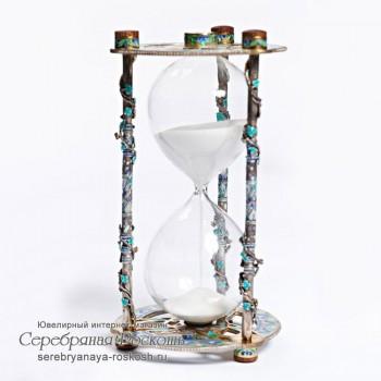 Песочные часы из серебра Виноградная лоза (эмаль)