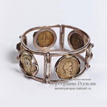 Серебряный браслет Монеты
