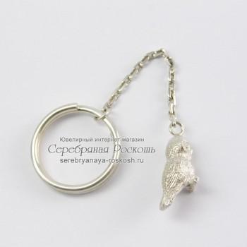 Серебряный брелок для ключей Сова