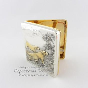 Серебряный портсигар Охота