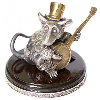Серебряная статуэтка Крыса с банджо - маленькая