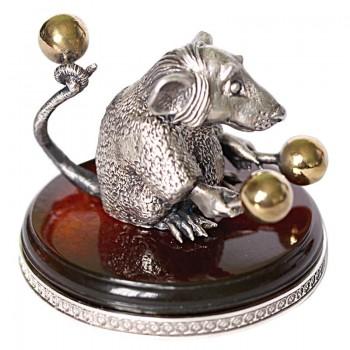 Серебряная статуэтка Крыса с маракасами - маленькая