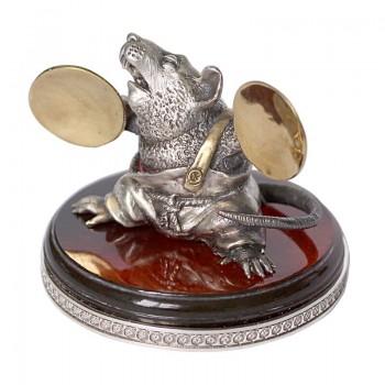 Серебряная статуэтка Крыса с тарелками - маленькая