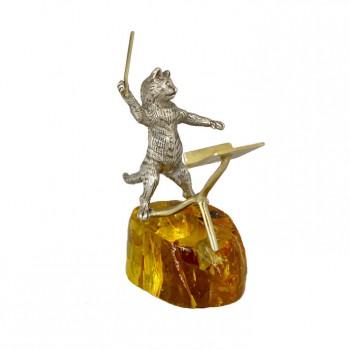 Серебряная статуэтка Кот дирижер на янтарной подставке