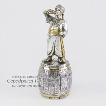 Серебряная штрафная рюмка Казак с чаркой