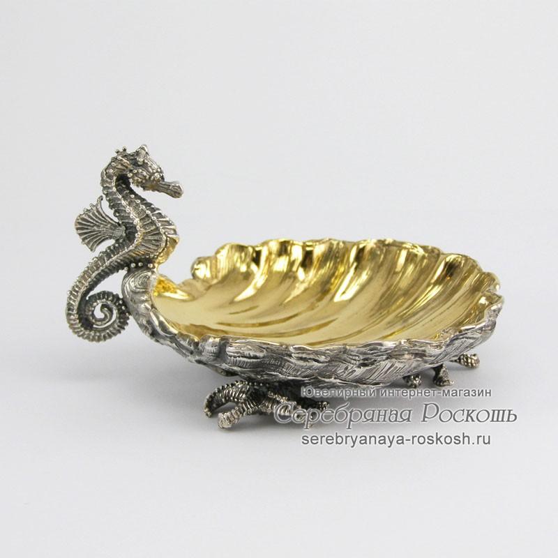 Серебряная икорница Морской конек