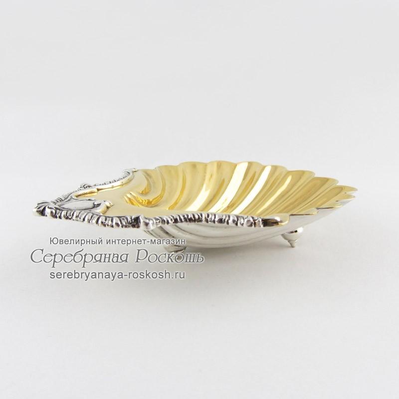 Серебряная икорница Морская раковина