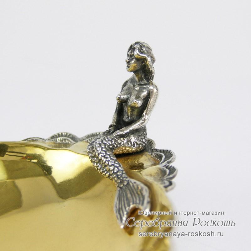 Серебряная икорница Русалка #2