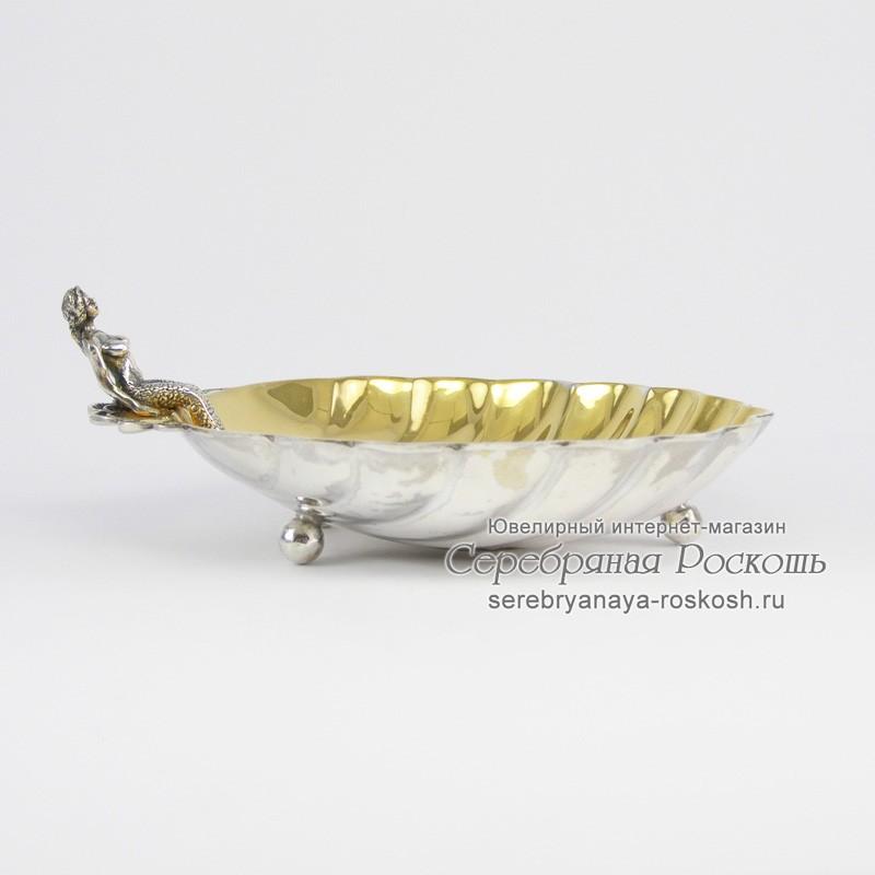 Икорница из серебра Русалка на ракушке #1