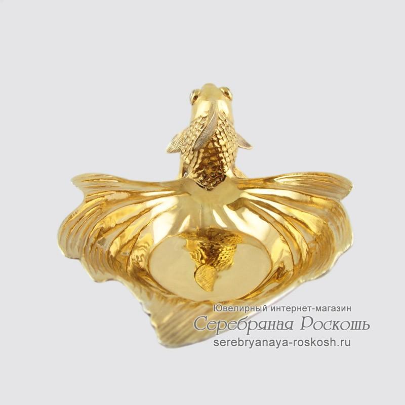 Икорница из серебра Золотая рыбка