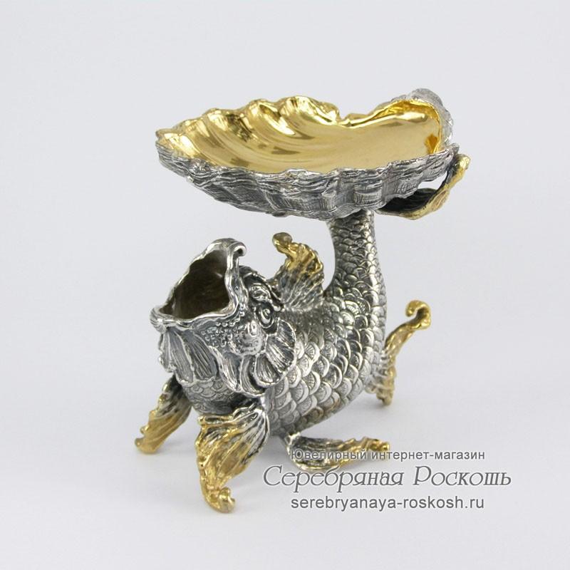 Серебряная икорница Рыбка