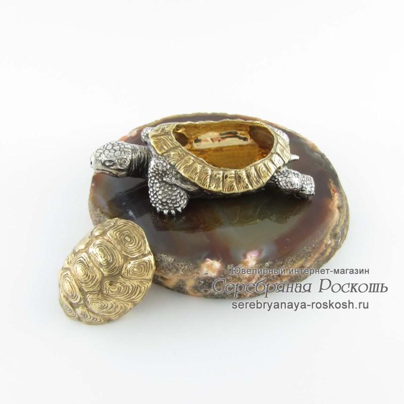 Серебряная шкатулка Черепаха