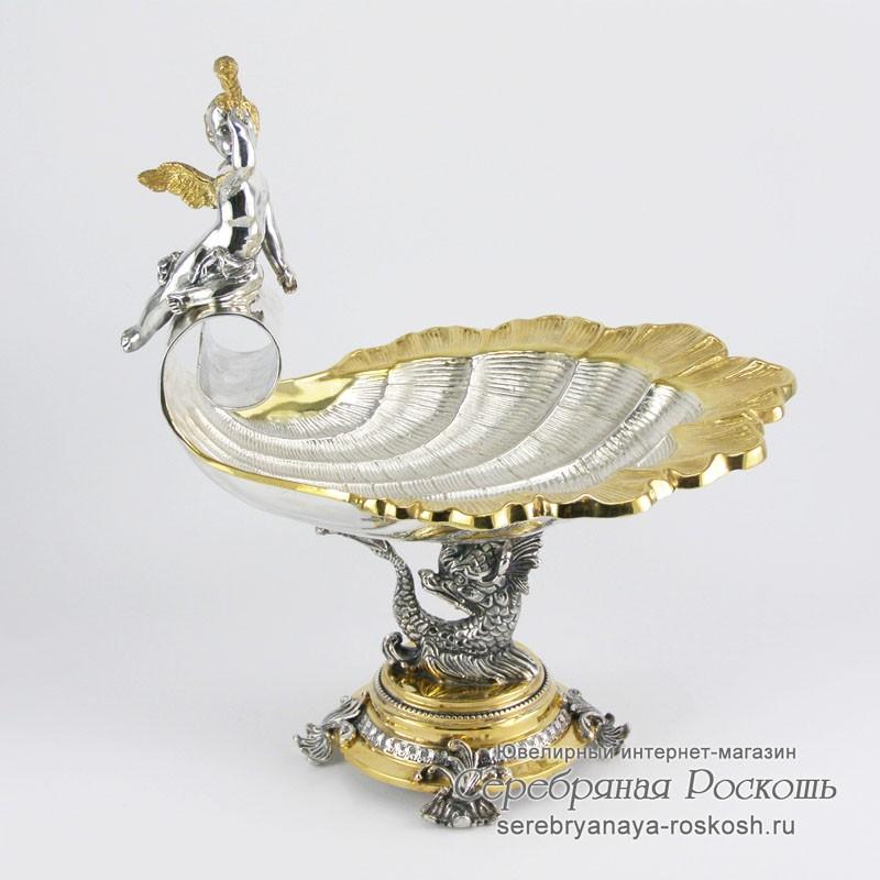 Серебряная конфетница Ангелочек