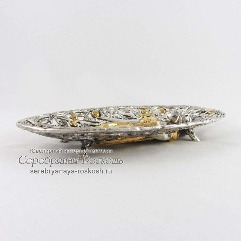 Конфетница из серебра Девушка в саду