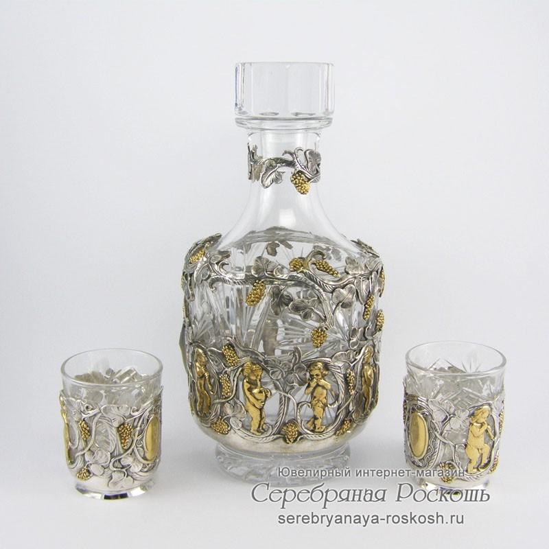 Серебряный набор для напитков Ангелочки