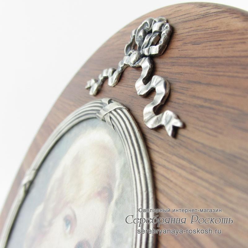 Деревянная фоторамка круглая