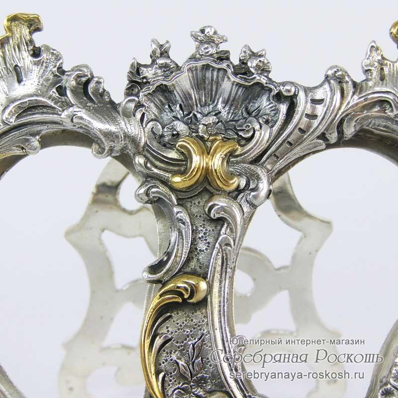 Серебряная двойная фоторамка Ажур