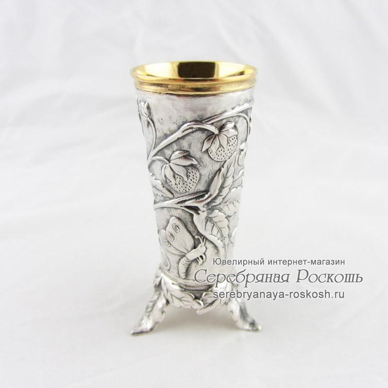 Серебряная рюмка Земляника