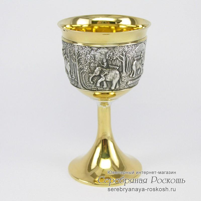 Серебряный бокал Слоны