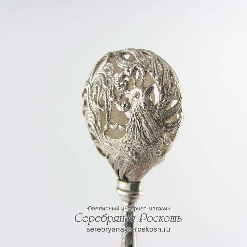 Серебряная погремушка Петух