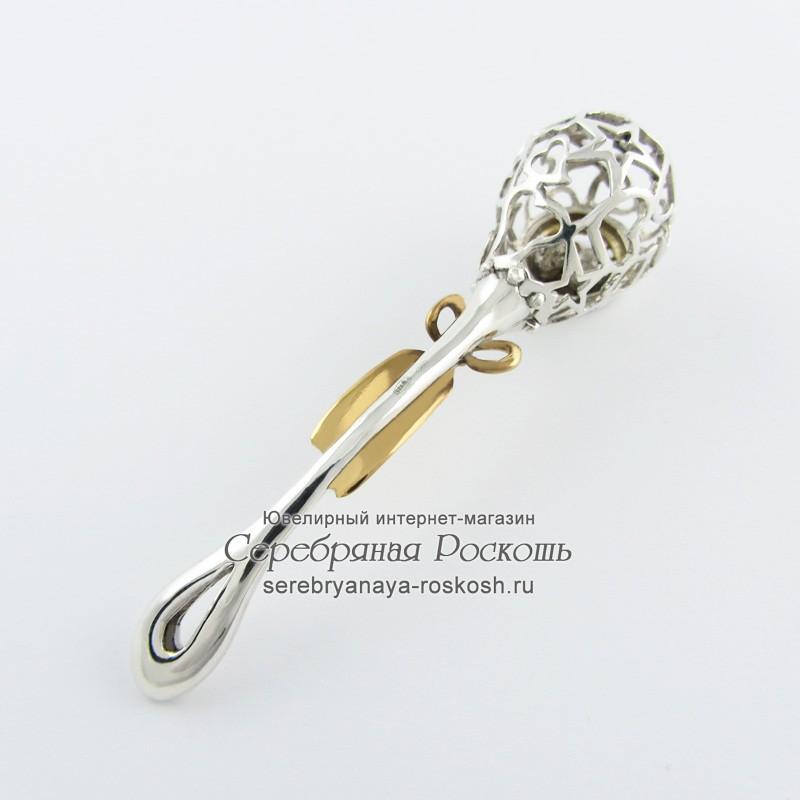 Серебряная погремушка знак зодиака Телец