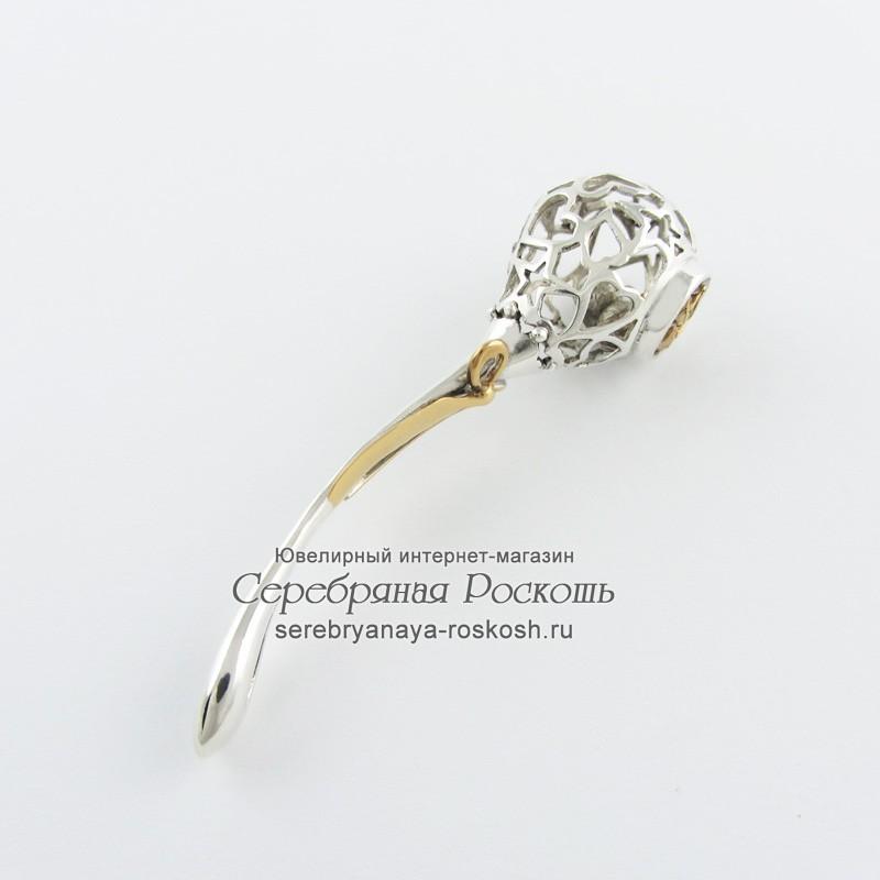 Серебряная погремушка знак зодиака Водолей