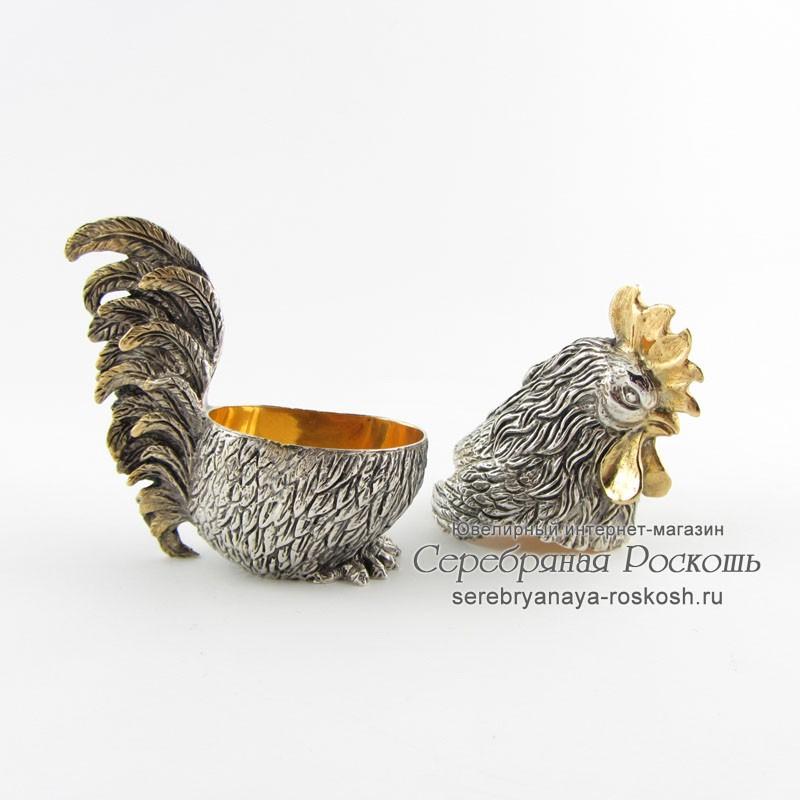 Серебряная шкатулка Петух
